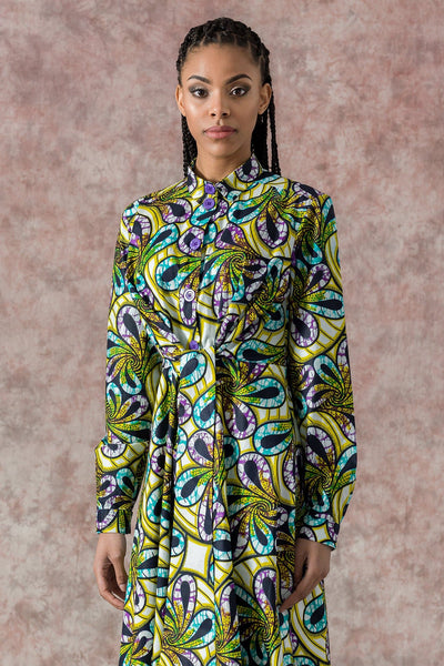 Elanga  Floral African Print Long Sleeves Tie Waist Shirt Dress