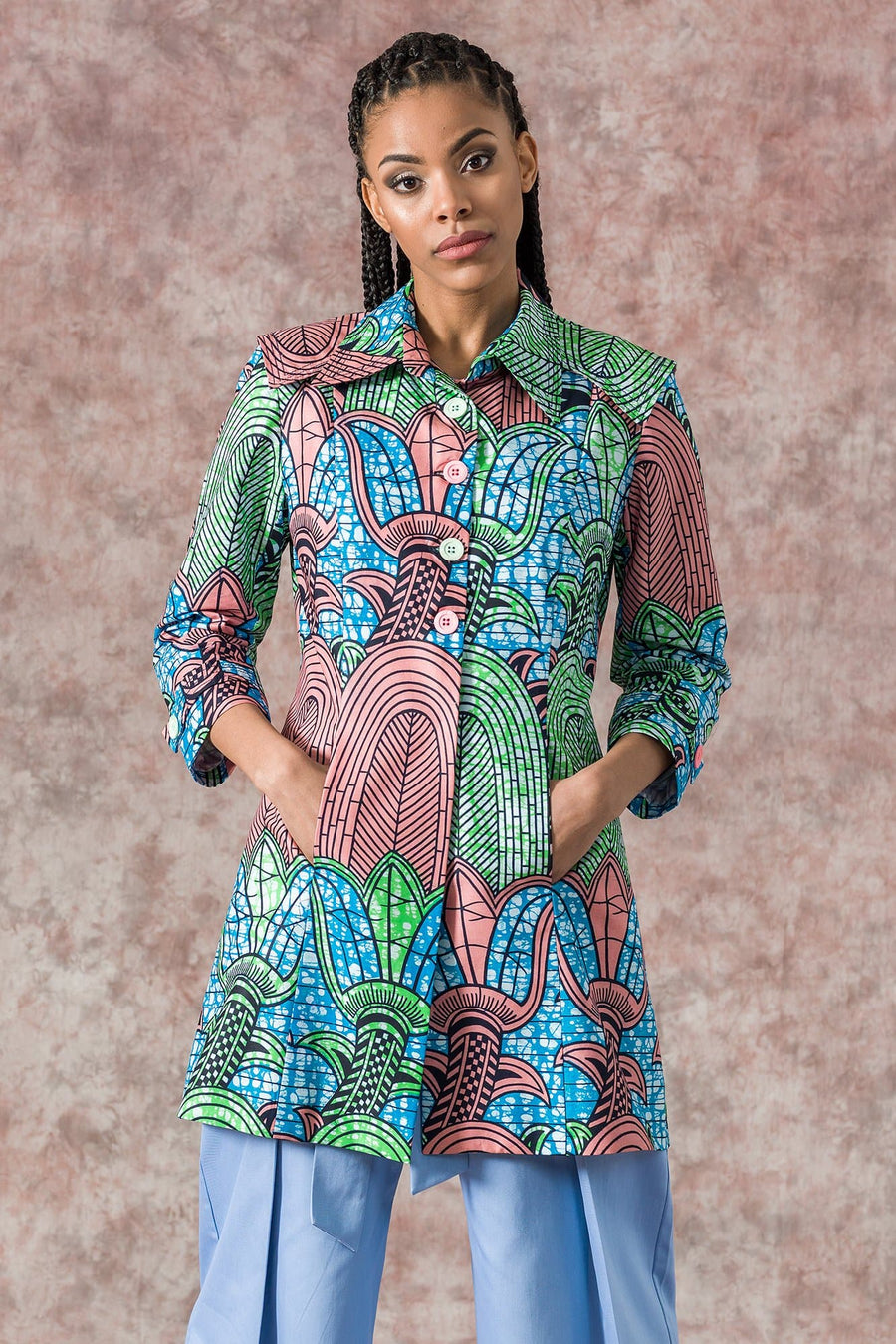 Sika'a Este African Print Single-Breasted Coat