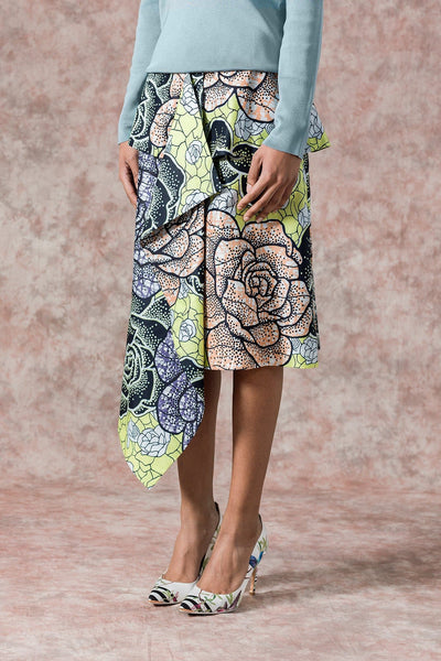 Sika'a African Print Rose Flower Detail Draped Front Wrap Skirt