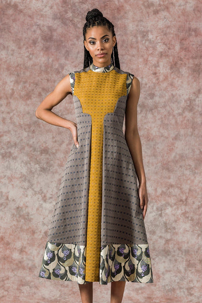 Sika'a Jacquard Print A-line Sleeveless Midi Dress