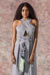 Kribi Cotton Cross Breast Flared Jumpsuit-Grey
