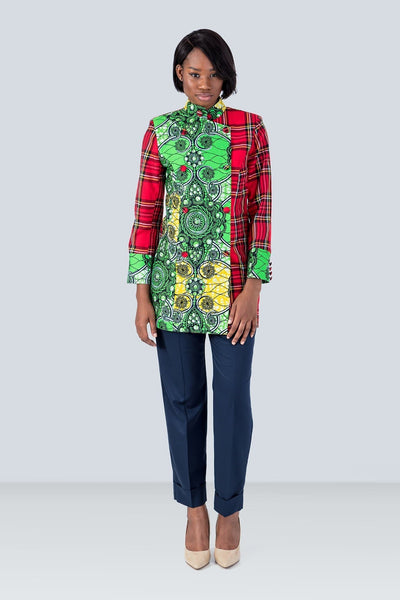 Sika'a Springbok Red Tartan And African Print Asymmetric Neck Coat