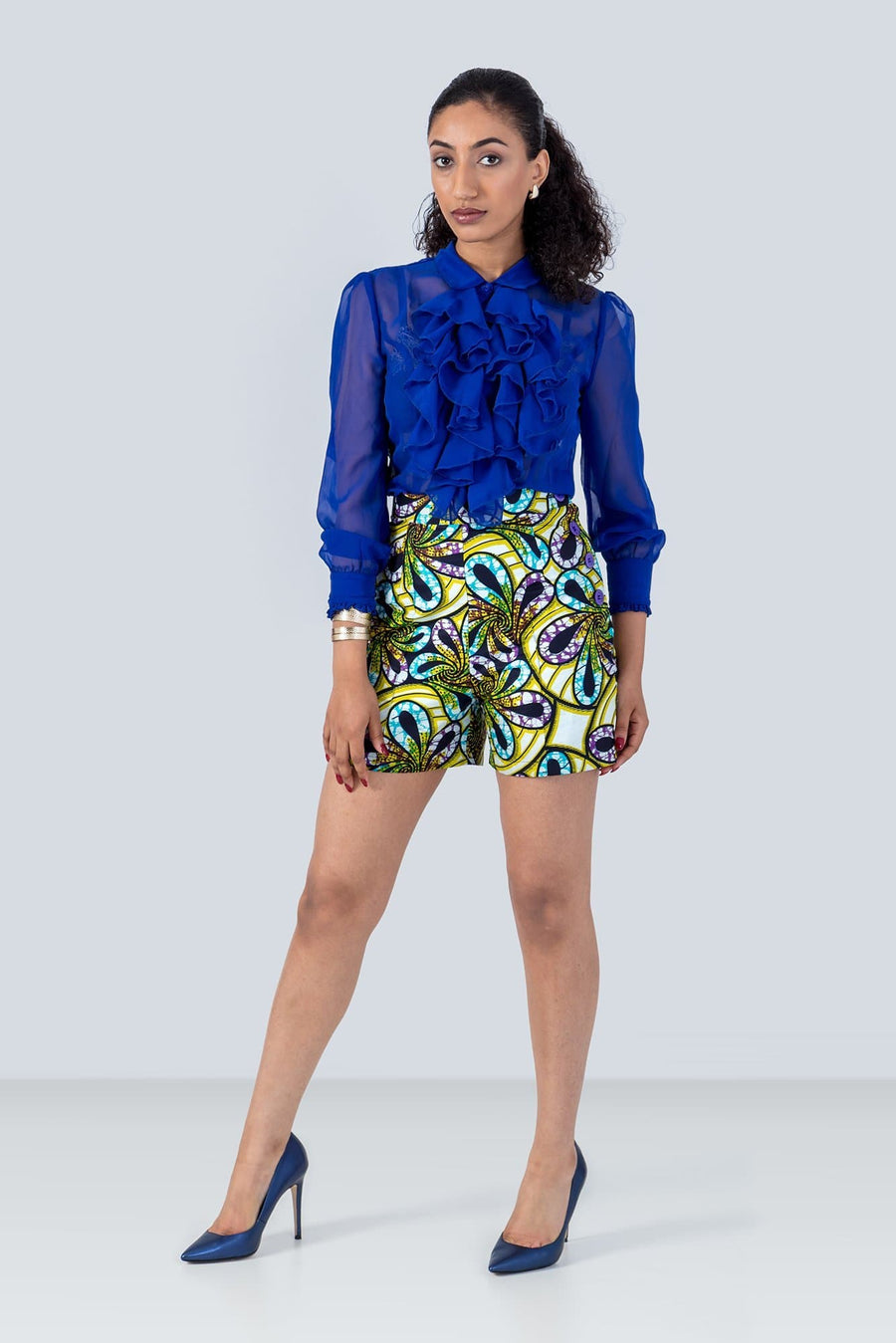 Sika'a African Green And Purple Floral Print Tailored Shorts