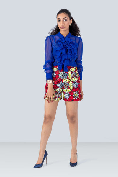 Samba High-waist Tailored Red and Yellow African Print Shorts