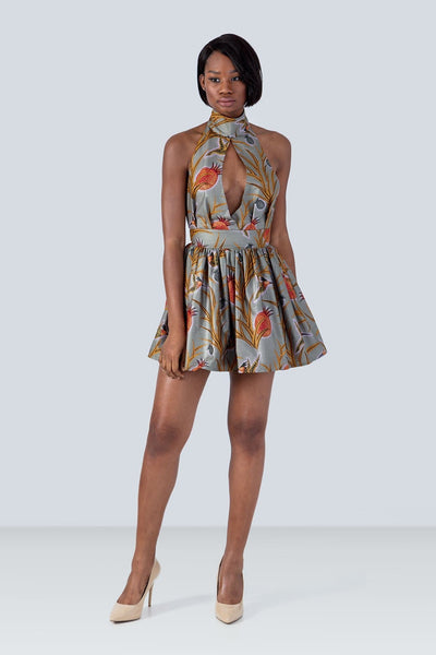 Sika'a Green Java African Print Halterneck Mini Dress