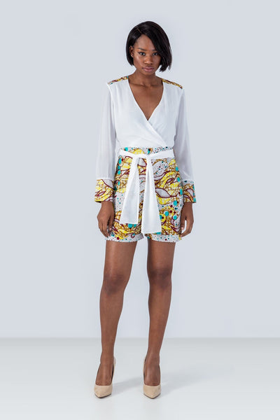 Sika'a Long-sleeved Belt Detail African Print Playsuit