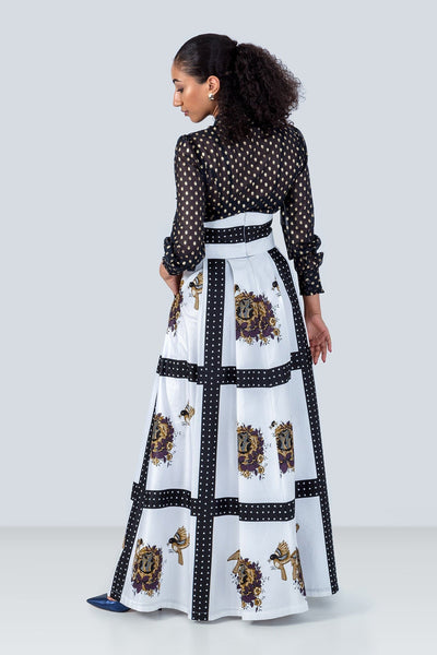 Ndege High Waisted Maxi Skirt - White With Bird Nest Detail Print