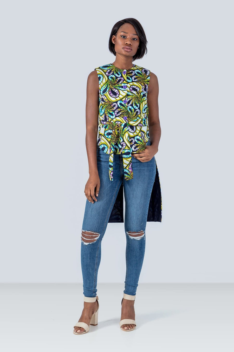 Sika'a Long Back Sleeveless African Print Blouse