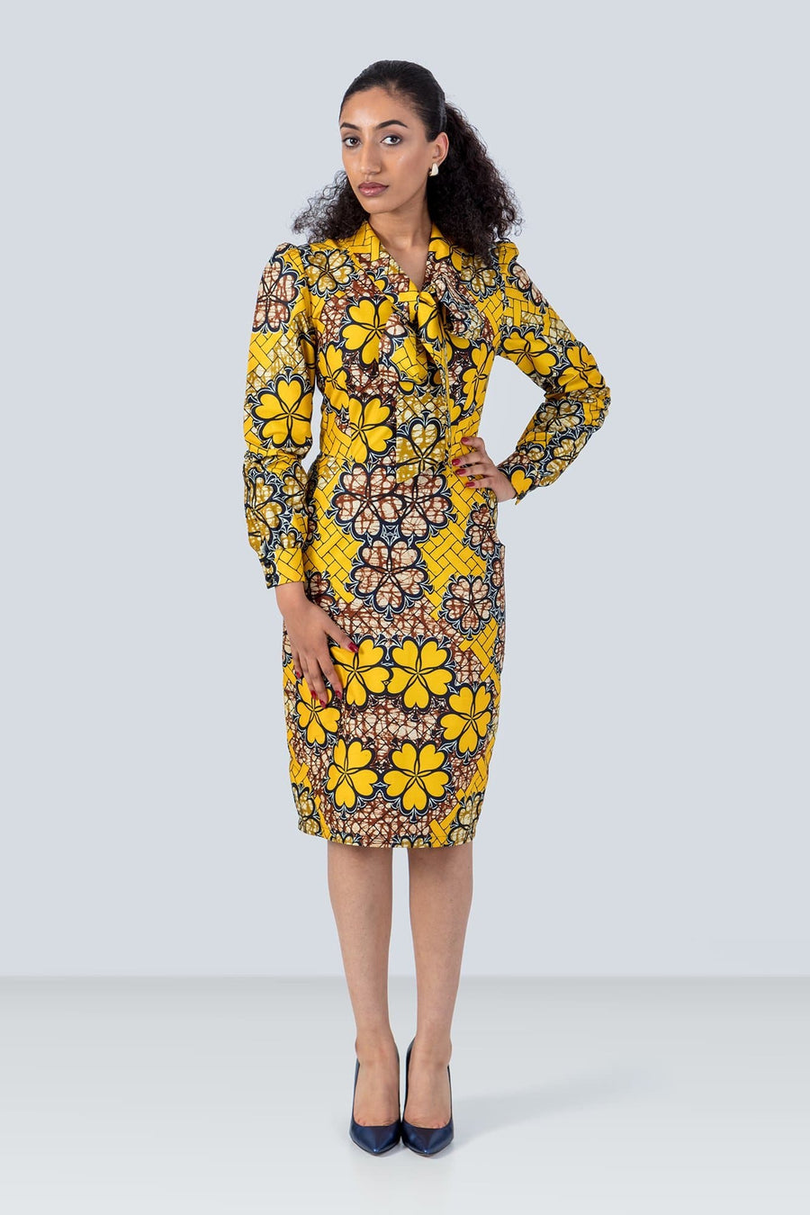Sika'a Long Sleeves Neck-tie Floral African Print Dress