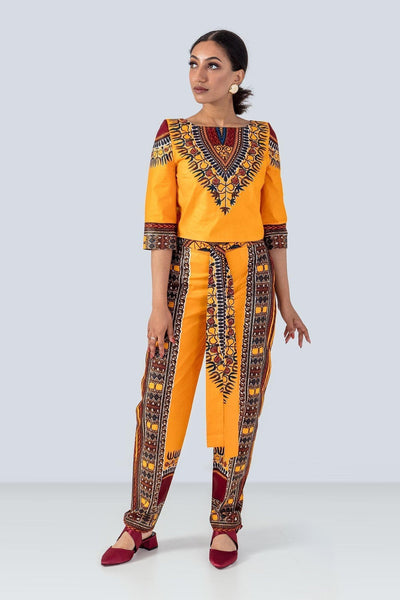 Sika'a Yellow Dashiki Print Trousers And Top Set