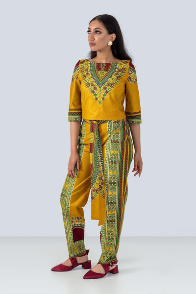 Sika'a Mustard Dashiki Trousers And Top Set