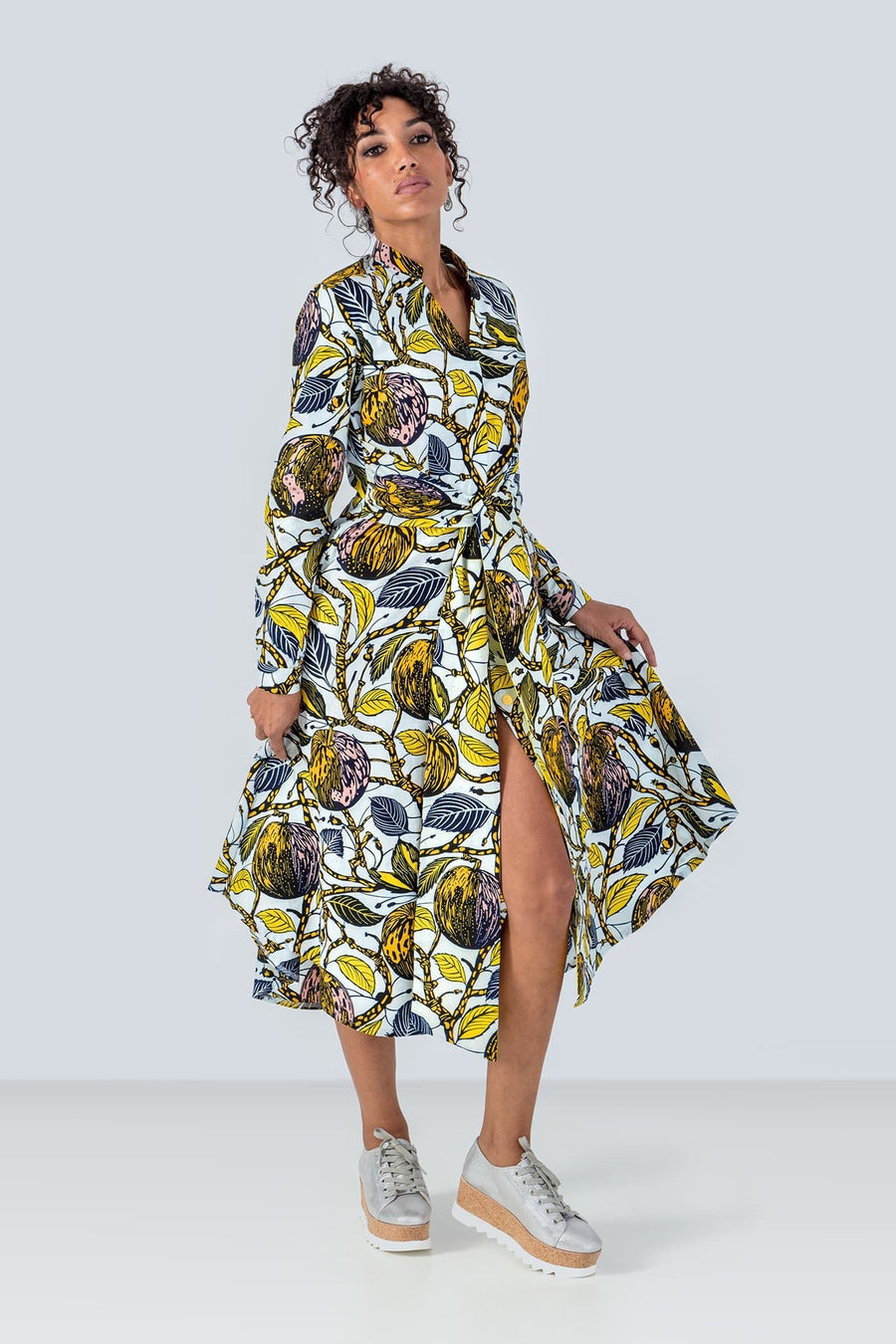 Honorine Long Sleeves Tie Waist Udara African Print Shirt Dress
