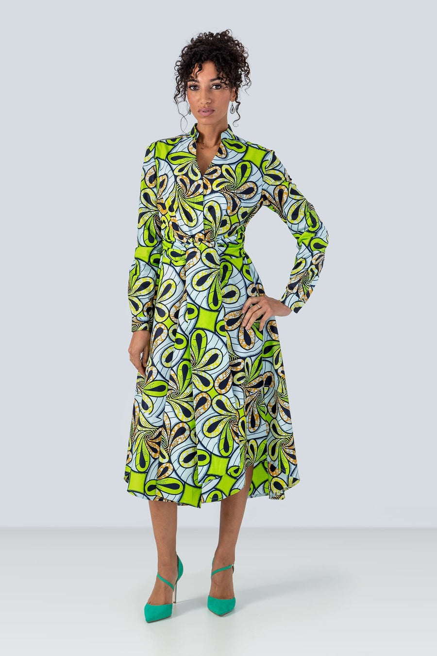 Pozou Long Sleeves Floral Green African Print Shirt Dress