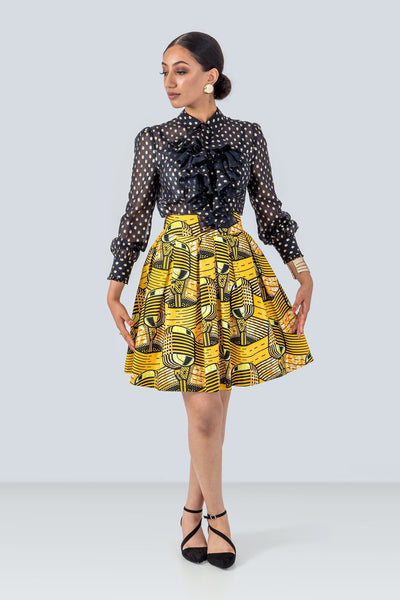 Sika'a High-waist A-line Yellow African Print Mini Skirt
