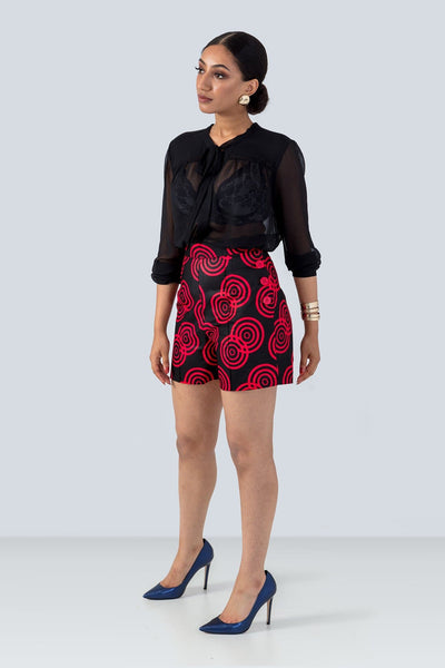 Kayele Red and Black Tailored African Print Shorts