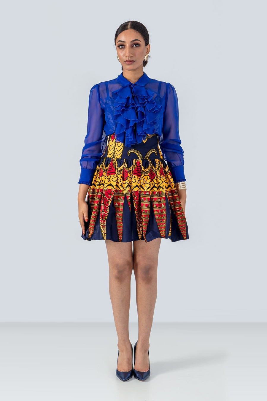 Sika'a High Waisted Mini Skirt In Eye Catching African Print