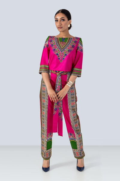Sika'a Pink Dashiki Trousers And Top Set