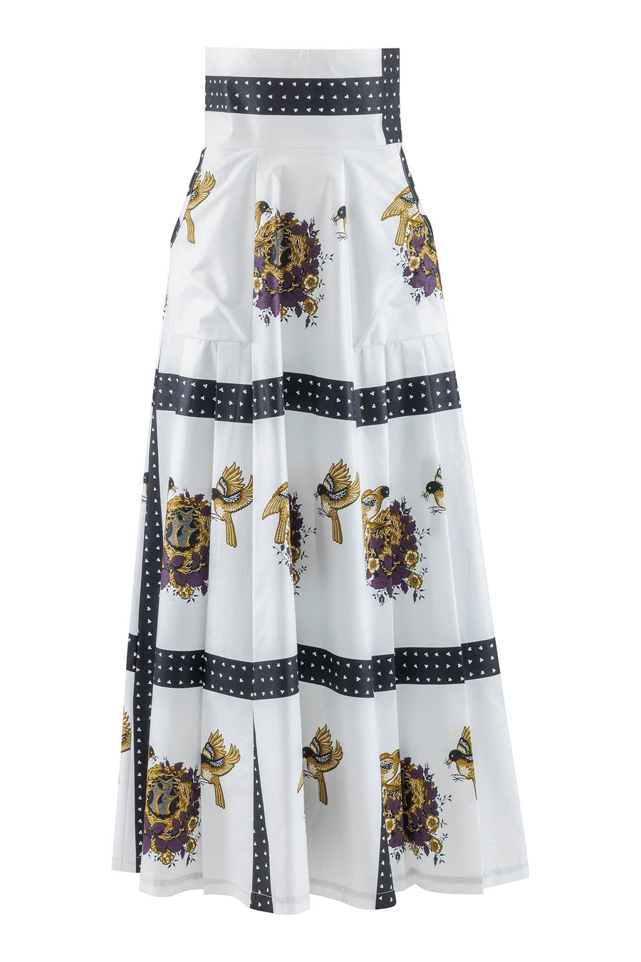 Ndege High Waist African Print Maxi Skirt - With Bird Nest Detail