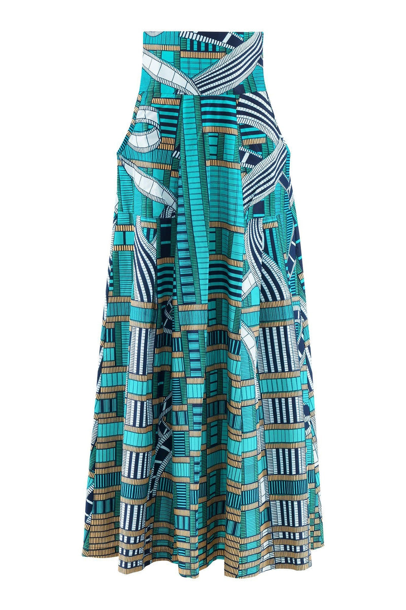 Sika'a Nollywood High Waisted Turquoise African Print Maxi Skirt