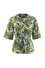 Elanga Purple Floral Short Sleeves Tie waist African Print Blouse