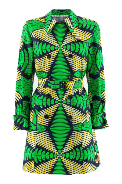 Sika'a Double-breasted Green African Print Trench Coat