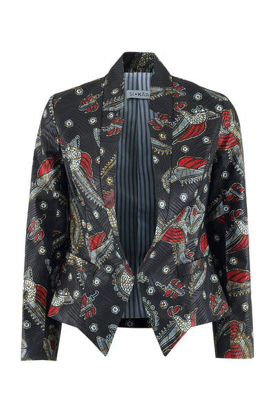 Sika'a Single-breasted Black African Print Blazer