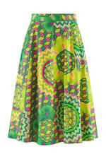 Sika'a African Green And Yellow Protea Print Flared Midi Skirt