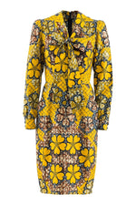 Sika'a African Print Long Sleeves Neck-tie Floral Dress