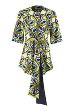 Sika'a Green Floral Tie Waist African Print Blouse