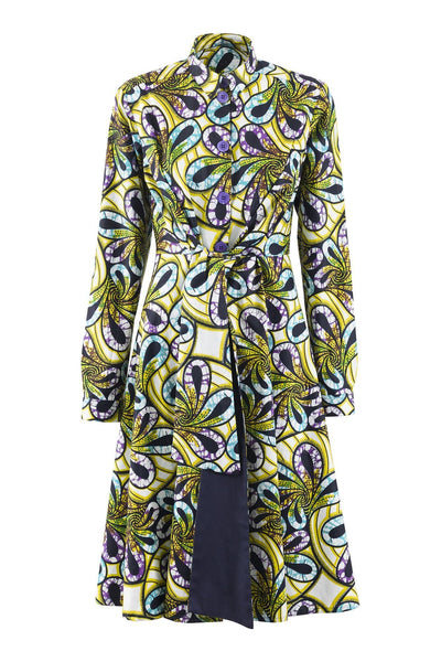 Elanga Long Sleeves Tie Waist African Print Shirt Dress