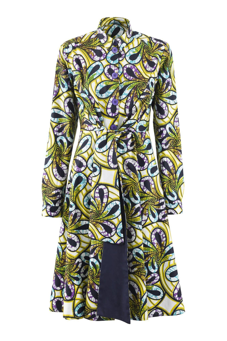 Elanga Green And Purple Floral Long Sleeves Tie Waist African Print Shirt Dress