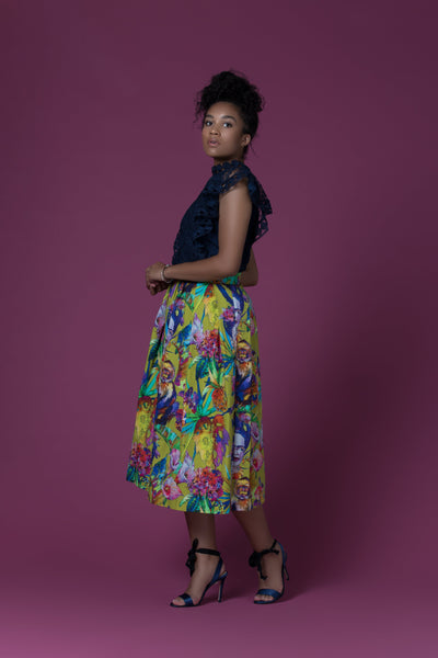 Sika'a Frida Khalo African Print Pleated Midi Skirt