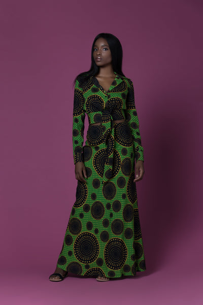 Mora Green And Gold Circle Pattern African Print Tie Waist Cropped Top