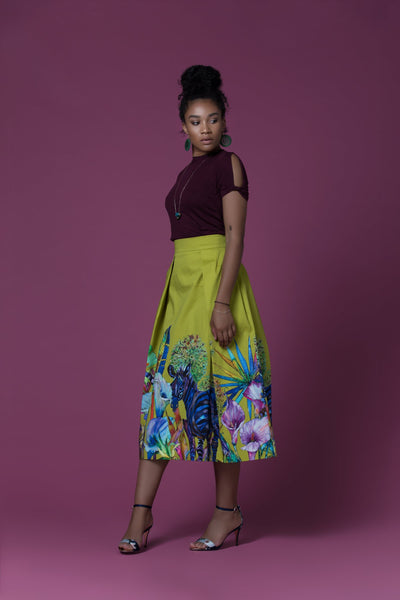 Mabote African Print Pleated Midi Skirt