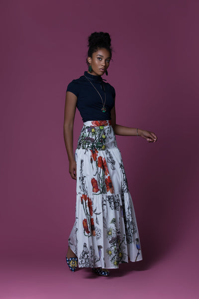 Makenene Poppies-Print Tiered Cotton Poplin Maxi Skirt