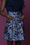 Eseka African Floral Print Over size Pockets Mini Skirt