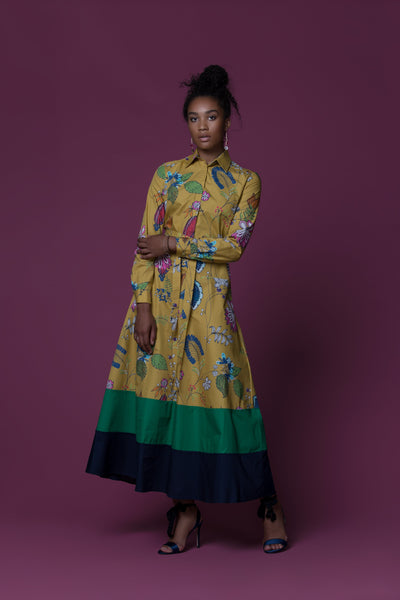 Makepe Hand Painted Floral African Print Cotton Poplin Maxi Dress