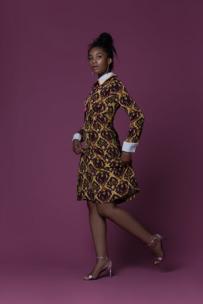 Essianh African Print Crepe De Chine Long-Sleeved Midi Dress
