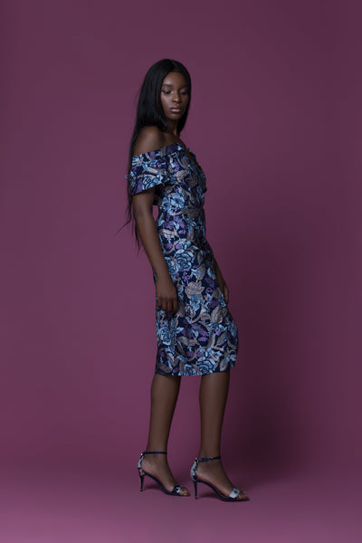 Okola Asymmetric African Print Off-The-Shoulder Dress