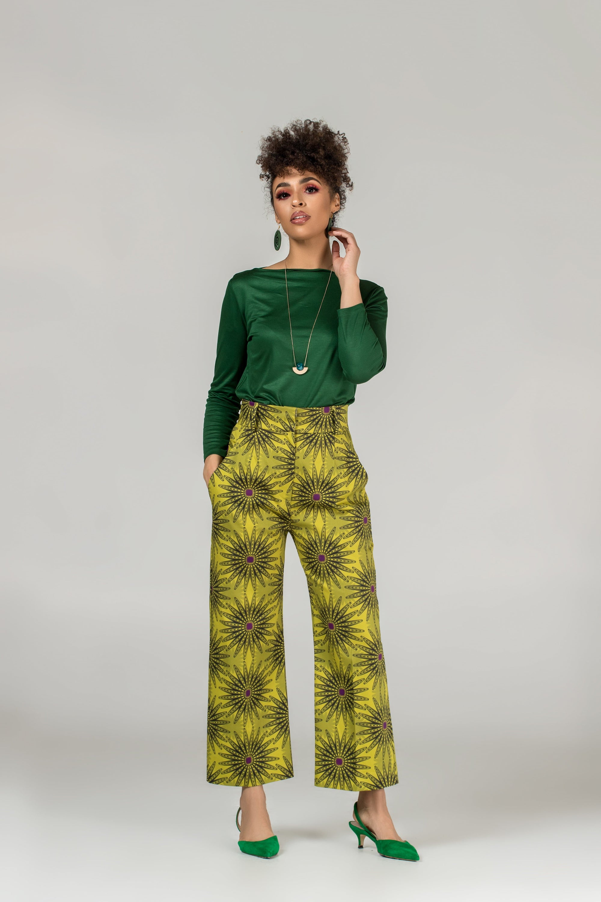African print cropped trousers