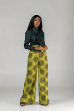 African print wide leg trousers