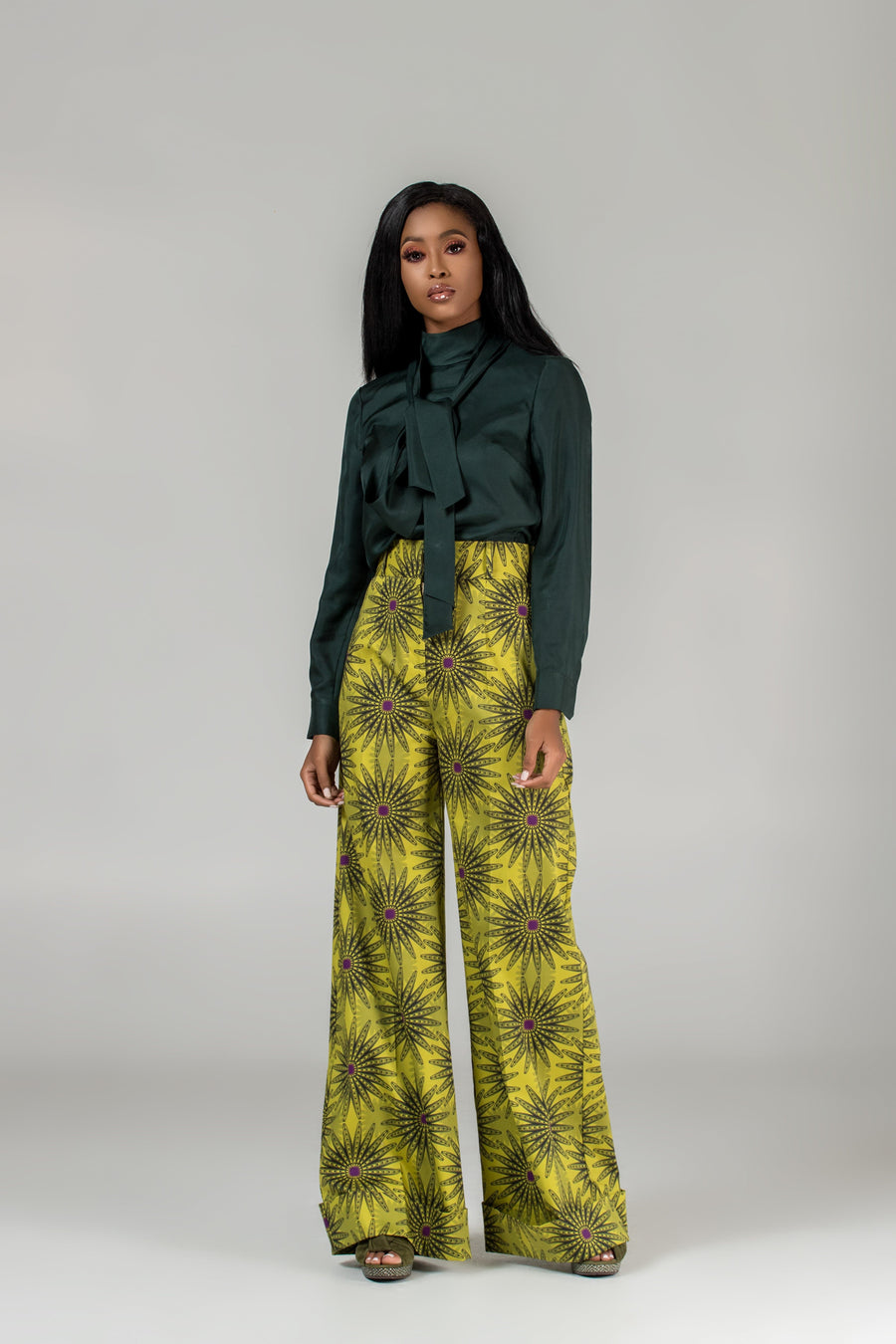 Flora High-Waist Wide-Leg Trousers