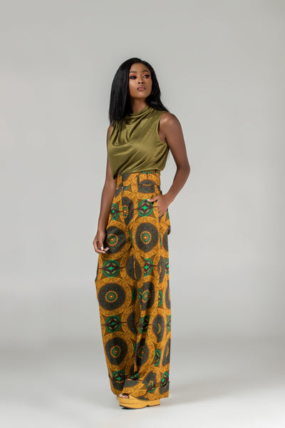 African print wide legs trousers