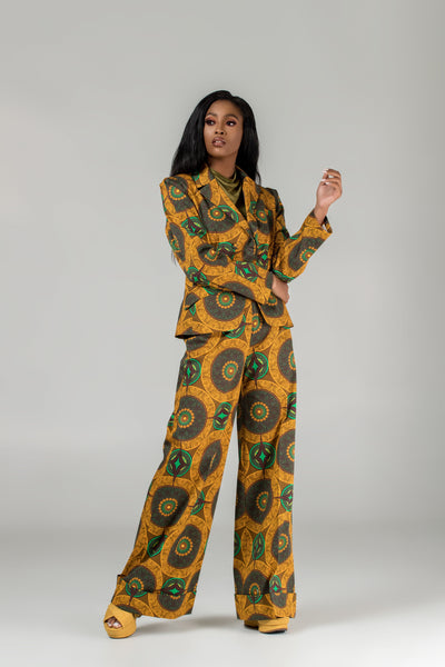 Lais African Print Double-Breasted Blazer