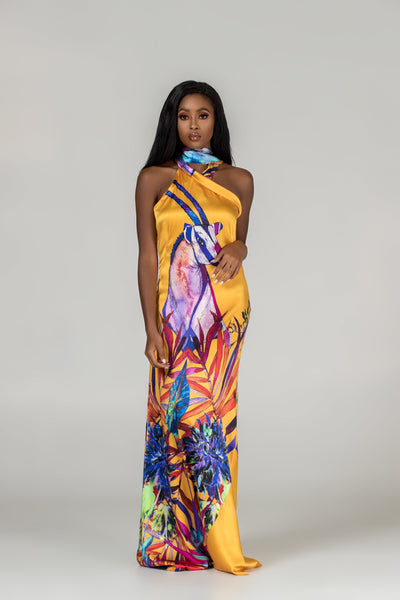 African print wedding gown