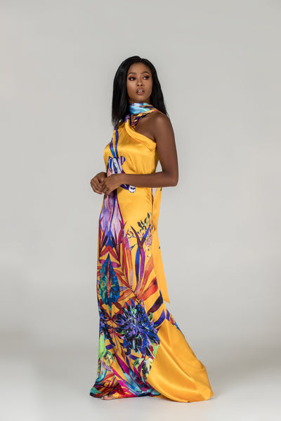 Signature Silk-Satin Halterneck Gown - Yellow