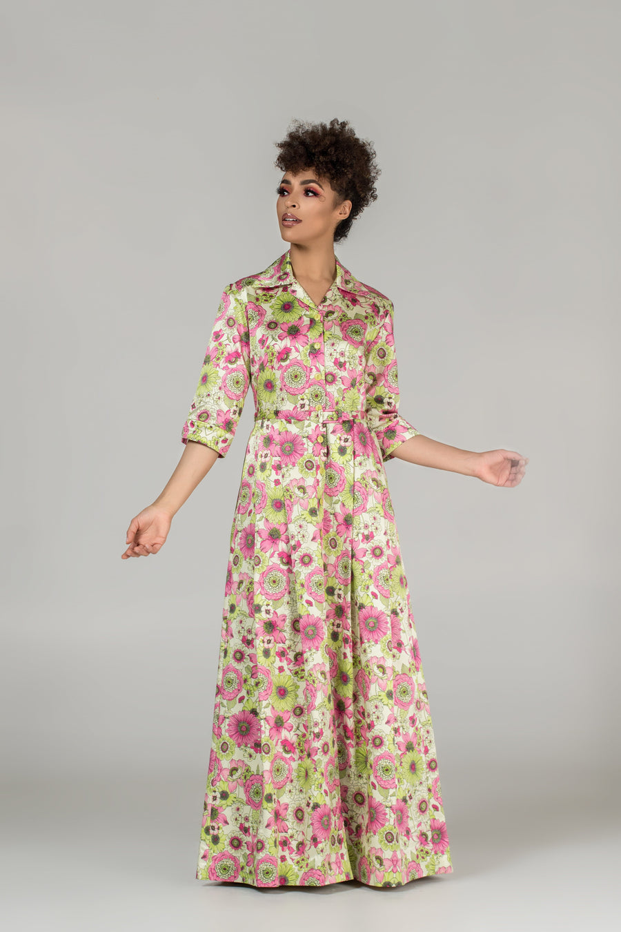 Sabina Floral-Print Gown