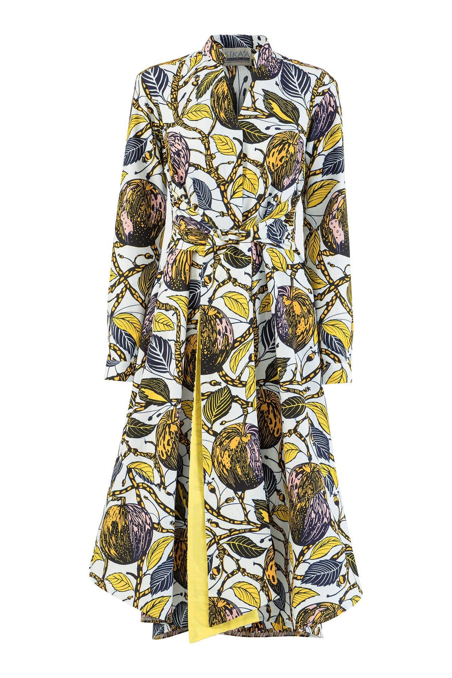 Honorine African Print Long Sleeves Tie Waist Udara Shirt Dress
