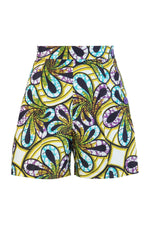 Sika'a African Print Green And Purple Floral Tailored Shorts