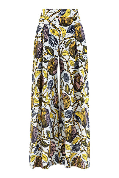 Lanmi Wide Leg Cropped African Print Trousers